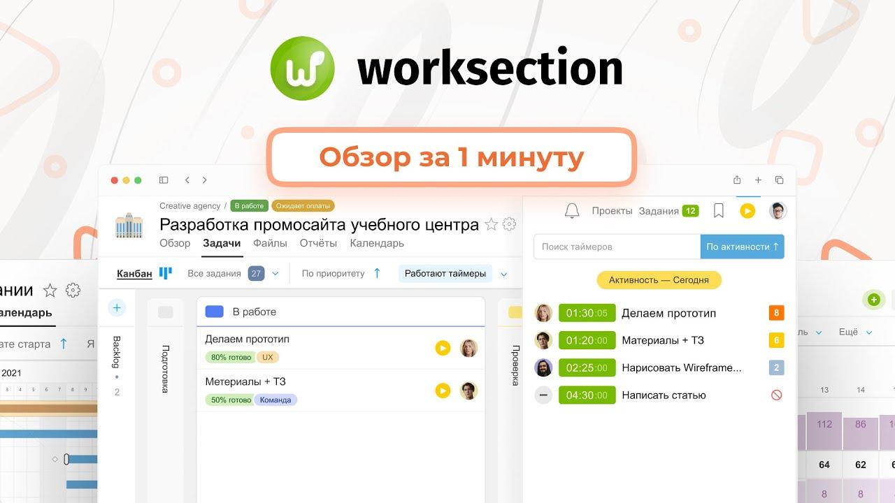 Обзор Worksection за 1 минуту. Планирование и контроль проектов онлайн