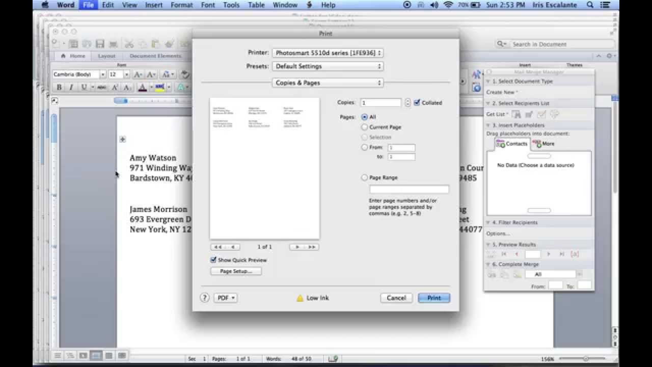 making labels in word for mac 2011