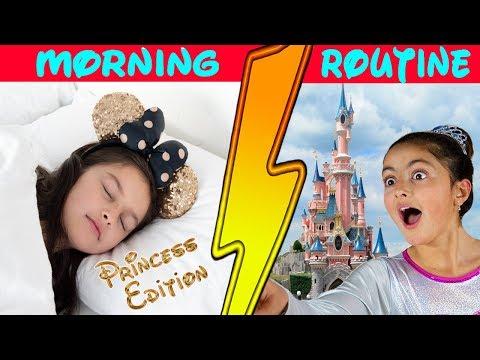 Morning Routine!! Princess Sisters In Real Life at DisneyLand👸👑