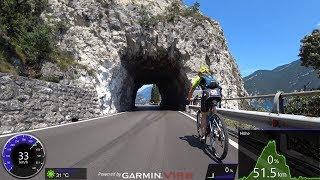 60 minute Virtual Cycling Workout Lake Garda 45 Tunnel Italy 4K Video