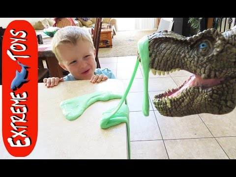 What Do You Do With a Sick T Rex? Dinosaur Toy gets Sick and Makes a Mess.