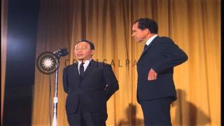US President Nixon and South Vietnam President Nguyen Thieu at a press conference...HD Stock Footage