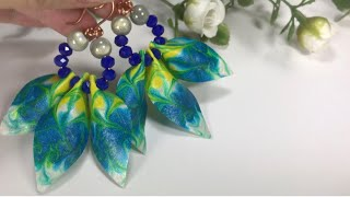 Liquid Clay Tutorial .Earrings with Bright Pouring Painting. Arcilla Polimerica.