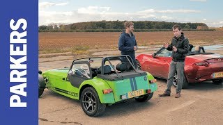 Mazda MX-5 vs Caterham 420R Twin Test | Who makes the best convertible sports car?