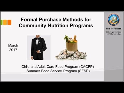 Formal Purchase Methods for Community Nutrition Programs