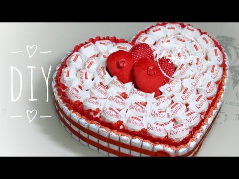 Как сделать торт из киндеров? DIY. Сердце из киндеров и раффаэлло. Что подарить на 14 февраля?