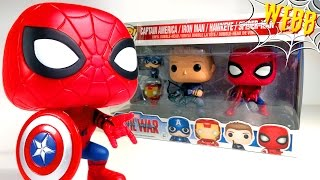 Funko POP Civil War SPIDER-MAN, CAPTAIN AMERICA, IRON MAN & HAWKEYE Review