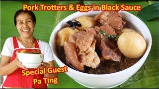 Pork Trotters & Eggs in Black Sauce - พะโล้ขาหมู - E097