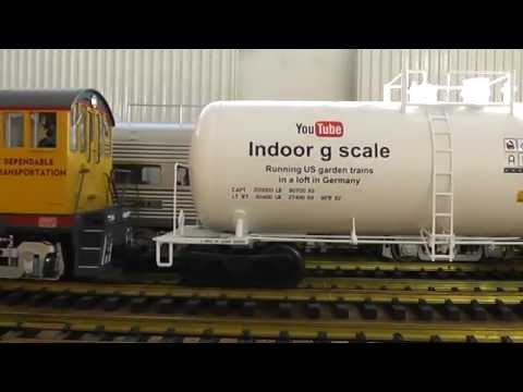 Indoor g scale 73′ Centerbeam, Alco S4 and Consolidation