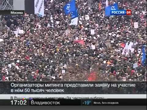 Protests in Moscow. News on Russian TV. 24/12/2011