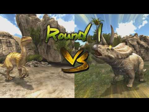 megaraptor with magic fights pentaceratops [t-rex,dinosaur card game]