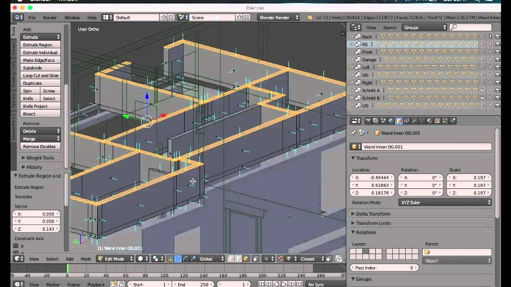 How to create a modern house in blender (house architecture.