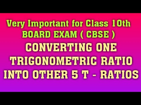Express One TRIGONOMETRIC RATIO In Terms Of Other 5  T - RATIOS