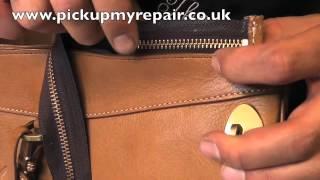 Replacing New zip in a Mulberry bag.www.pickupmyrepair.co.uk