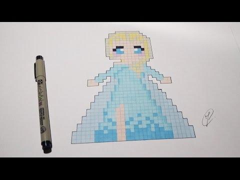 Pixel Art Elsa Frozen Easy Step By Step Youtube