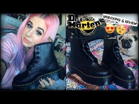 DR. MARTENS MOLLY GLITTER PLATFORM BOOTS! | UNBOXING & REVIEW! ❤