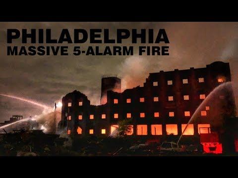 MASSIVE 5-ALARM FACTORY FIRE, PHILADELPHIA, PA.