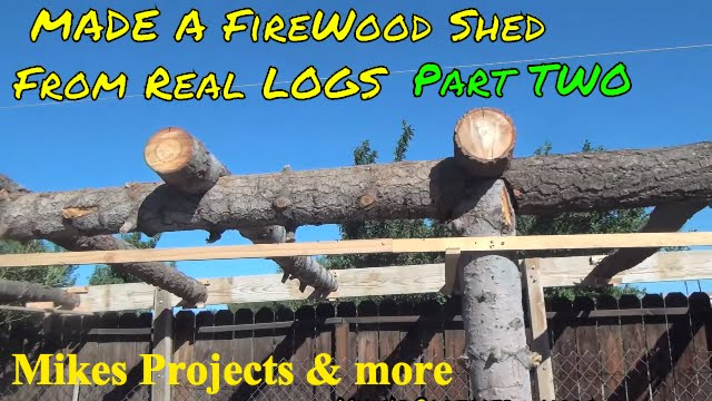 Build Rustic Log Firewood Shed P2 Youtube