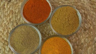 Rotating shot of Indian traditional spices used in cooking delicious food of India