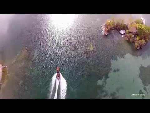 Aerial - 1000 Islands Autumn Antique  Boat Ride