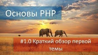 Краткий обзор уроков видео по PHP из первой темы, в которой мы подготовимся к изучению этого языка