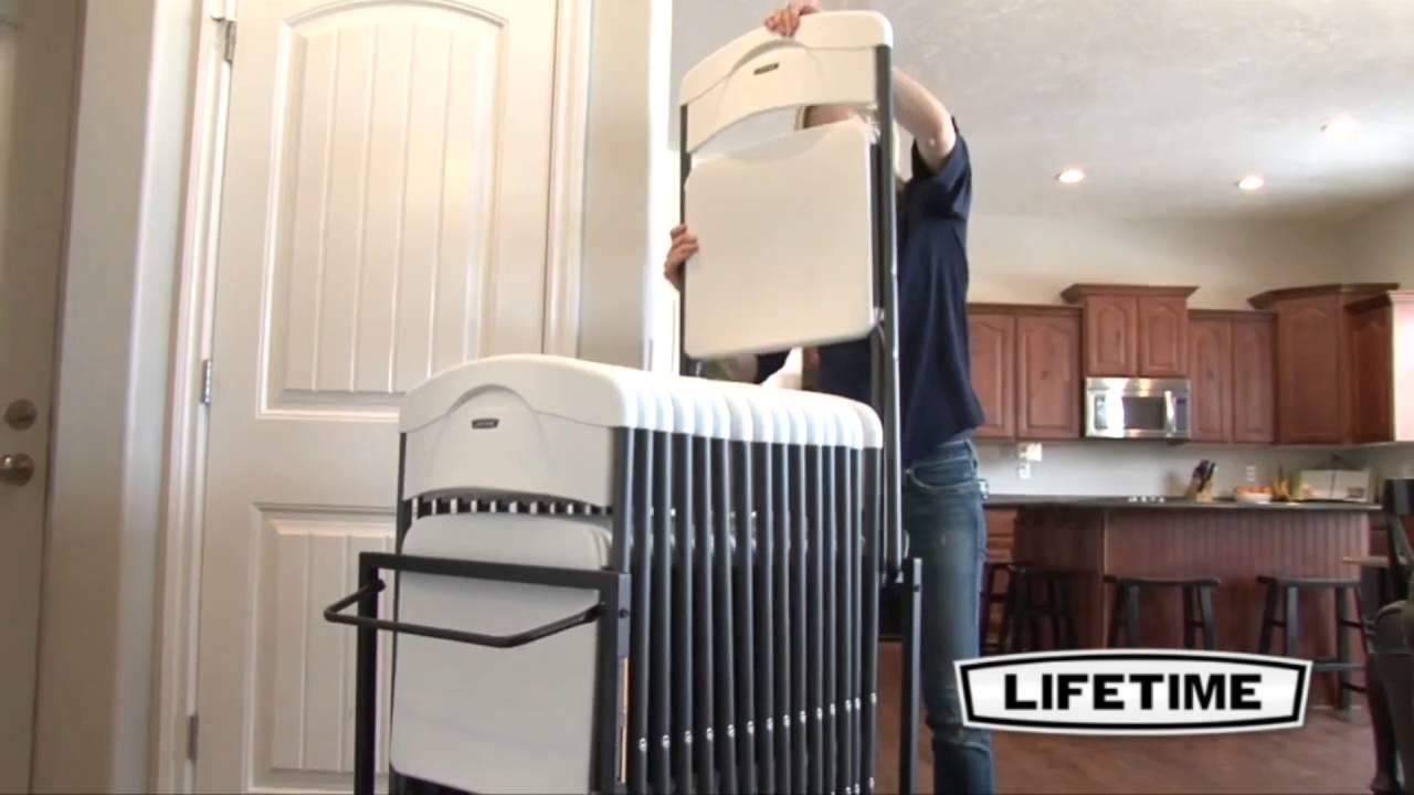 lifetime 80279 standing folding chair storage rack cart