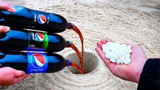 Experiment: Pepsi, Pepsi Lime, Pepsi Max vs Mentos Underground  Huge Fountain!