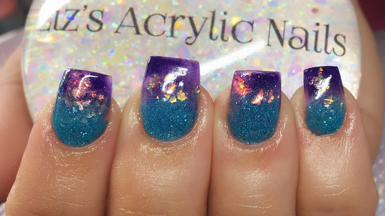acrylic nails | blue and purple ombre - youtube
