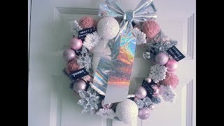 DIY Pink Glam Christmas Wreath 99 cent store