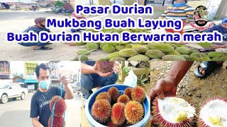 Pasar Durian...Mukbang Buah Layung Buah Durian hutan yg Berwarna merah