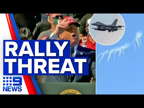 Fighter jets called in to protect Trump rally | 9 News Australia