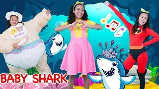 Baby Shark Halloween Costume Nursery Rhyme Song | Incredibles, Disney Princess Elsa & Ellie Sparkles