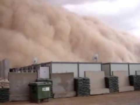Sand Storm Moving In US Base Al Asad Iraq