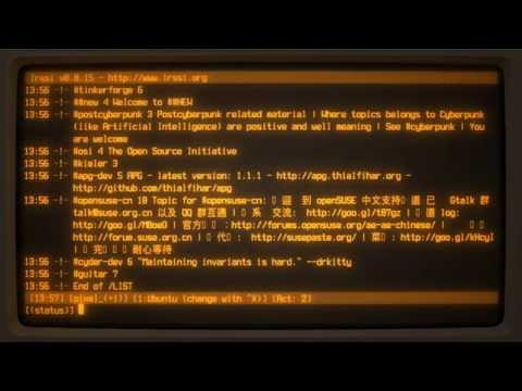 irssi IRC client running inside cool-retro-term linux terminal