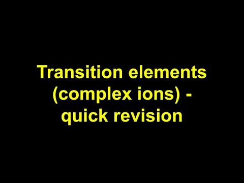 Quick revision - Transition elements (complex ions)