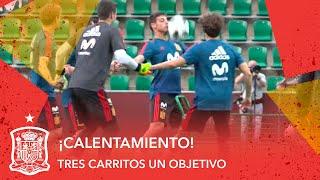 ¡Atención a este juego en el calentamiento de la Selección española en Krasnodar!