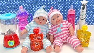 Как Мама Меняла Подгузники Делала Зарядку и Кормила Кашей Малышей Двойняшек Куклы Пупсики