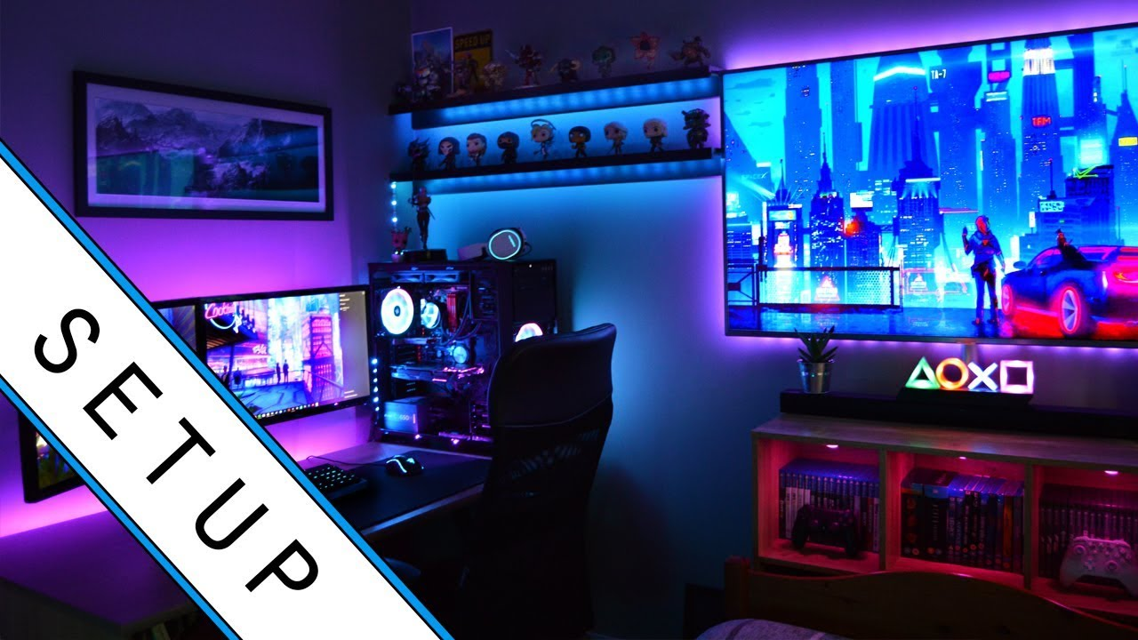captivating bedroom gaming room setup | Gaming Setup / Room Tour! - 2019 - Ultimate Small Room ...