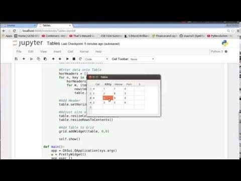PyQt4 (Python GUI) 5: Tables on GUIs
