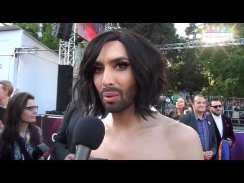 Interview Conchita Wurst on the red carpet in Vienna   Eurovision 2015