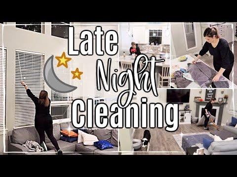 AFTER DARK CLEAN WITH ME 2019 :: SAHM CLEANING ROUTINE + HACKS :: NIGHT SPEED CLEANING MOTIVATION
