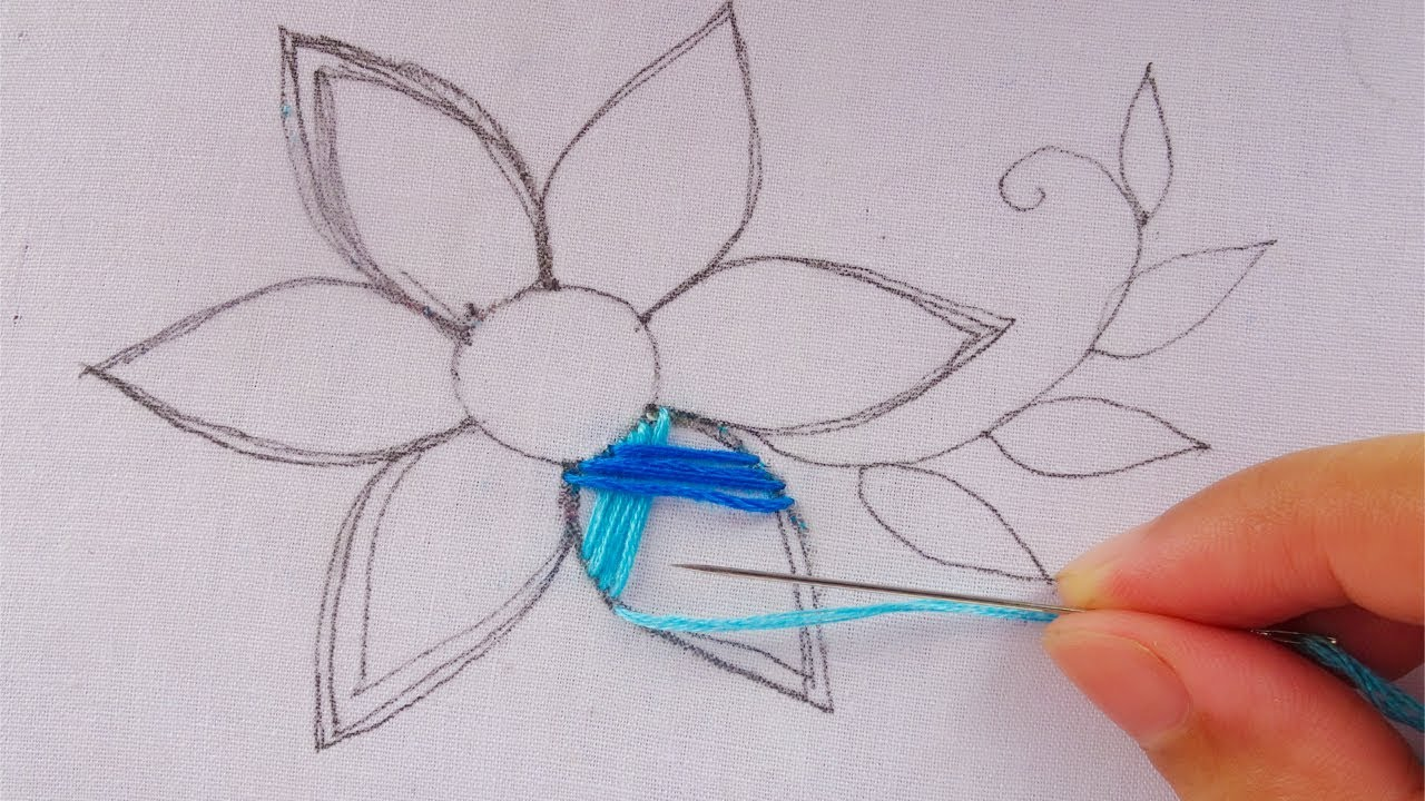 Hand Embroidery Modern Flower Embroidery Easy Flower Stitch Youtube
