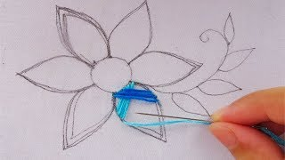 hand embroidery modern flower embroidery,easy flower stitch