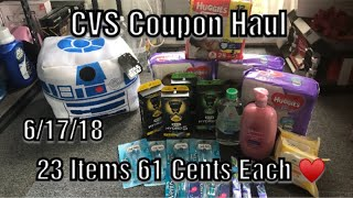 CVS Coupon Haul 6/17/18//23 Items Only 61 Cents Each ♥️|Awesome Diaper Razor Deals This Week!!