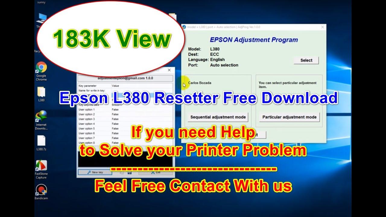 Epson L380 Printer Resetter software download