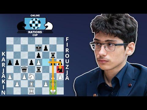 Alireza Firouzja Wins Brilliantly With Black Vs Sergey Karjakin | Online Nations Cup