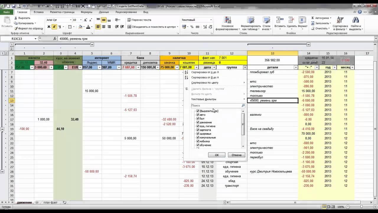 Програмку приходов и расходов продукта