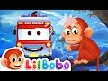 Wheels on the bus go Round and Round song | Little BoBo Nursery Rhymes | Flickbox Kids
