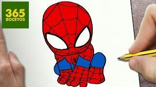 COMO DIBUJAR SPIDERMAN KAWAII PASO A PASO - Dibujos kawaii faciles - How to draw a Spiderman