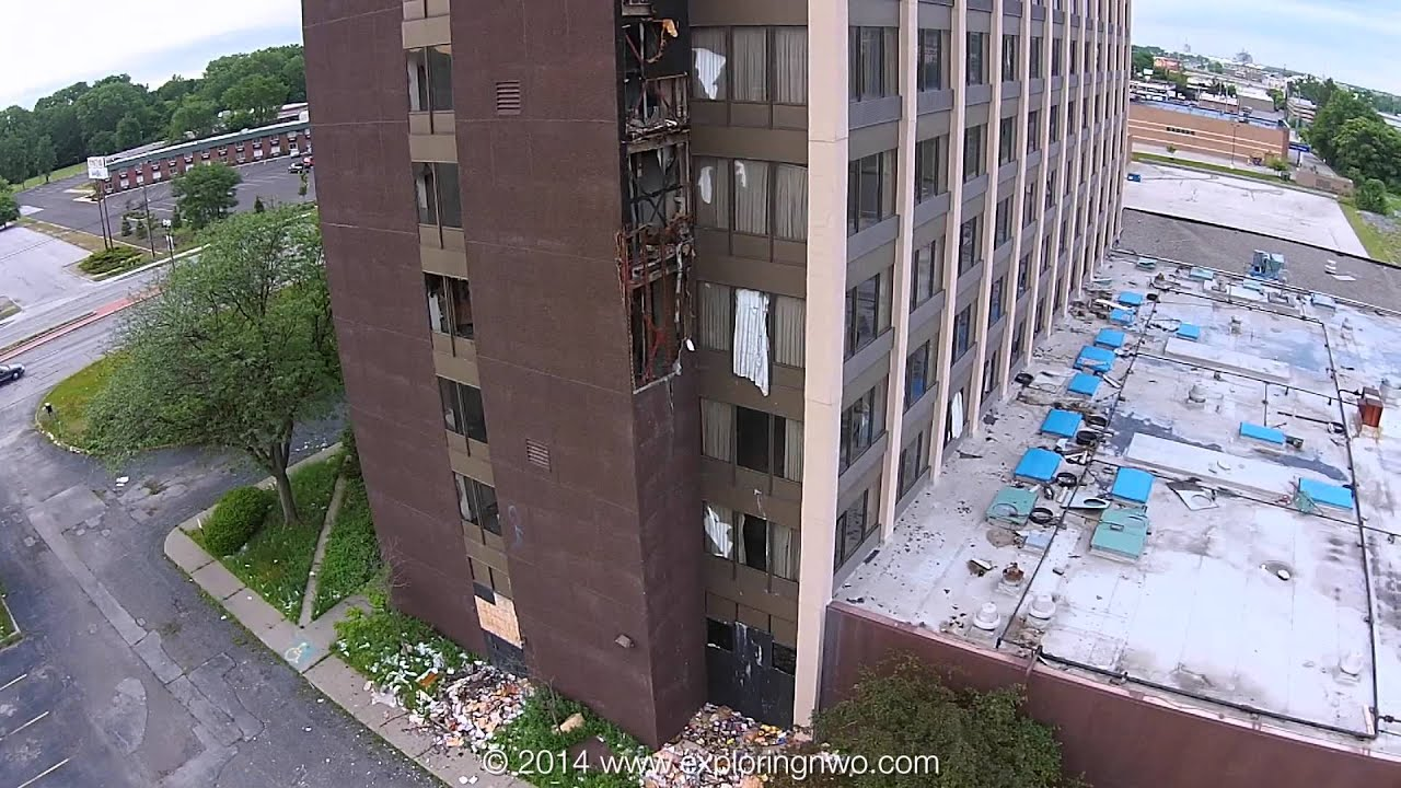 Abandoned Clarion Hotel In Toledo Close Aerial Views Of The Prior To Demolition You